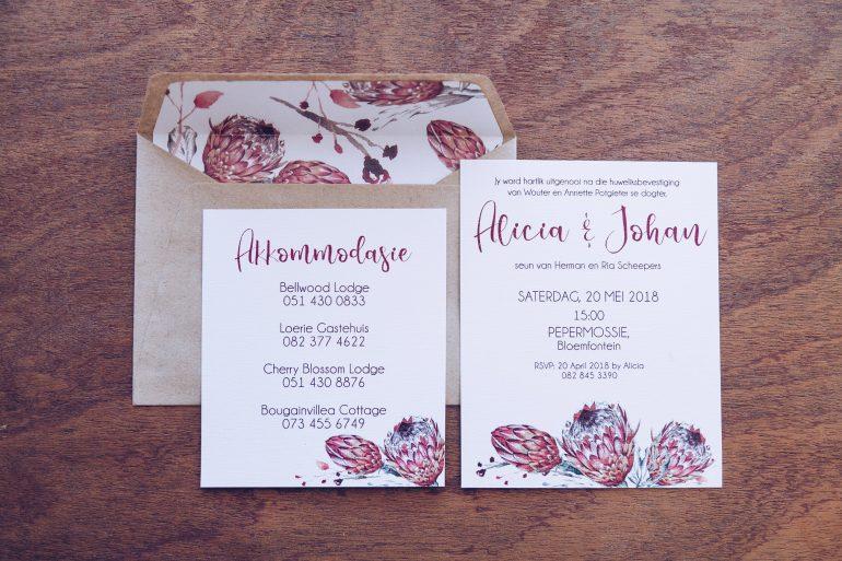 warm protea uitnodigings mooi troues