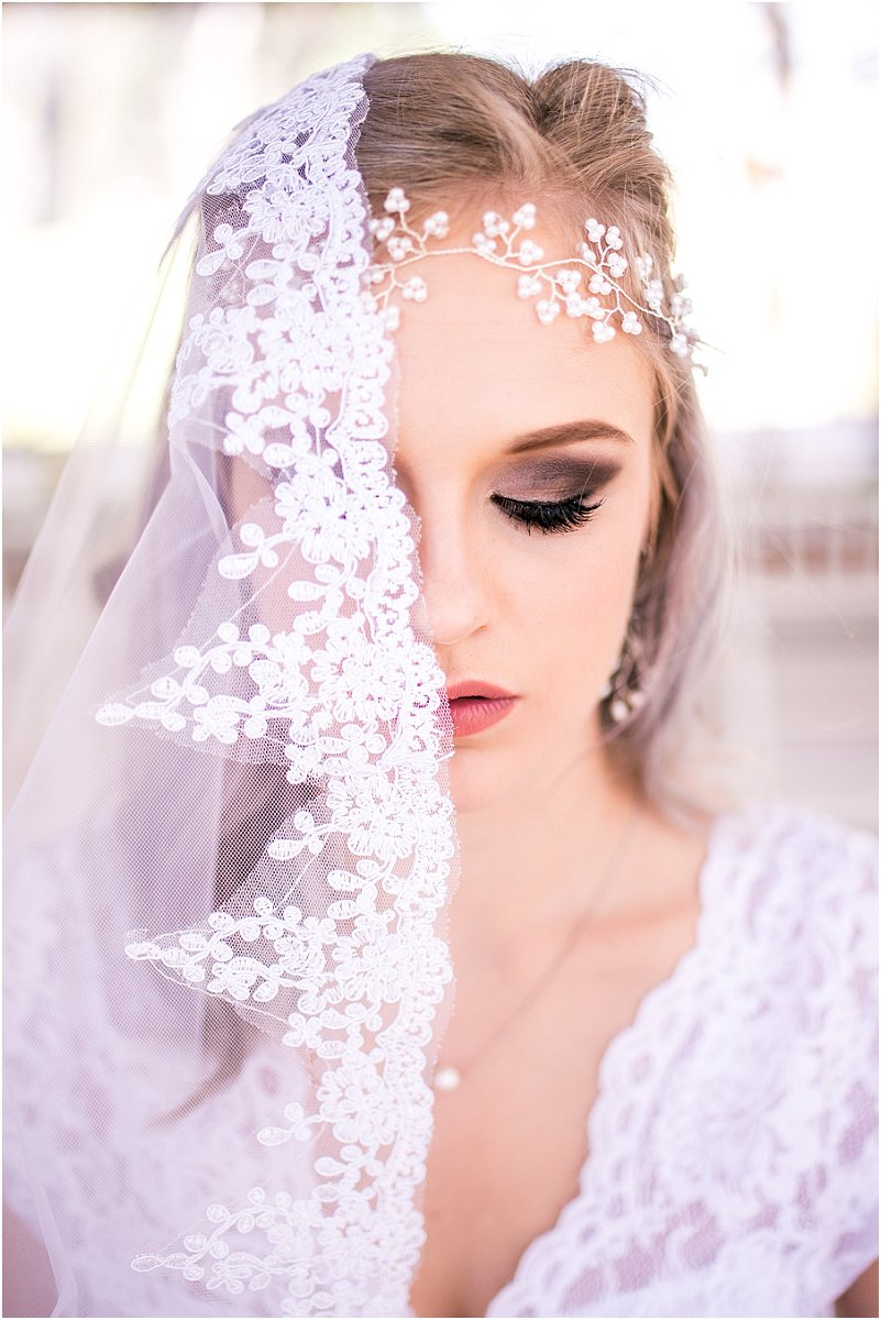 bridal hair piece and veil