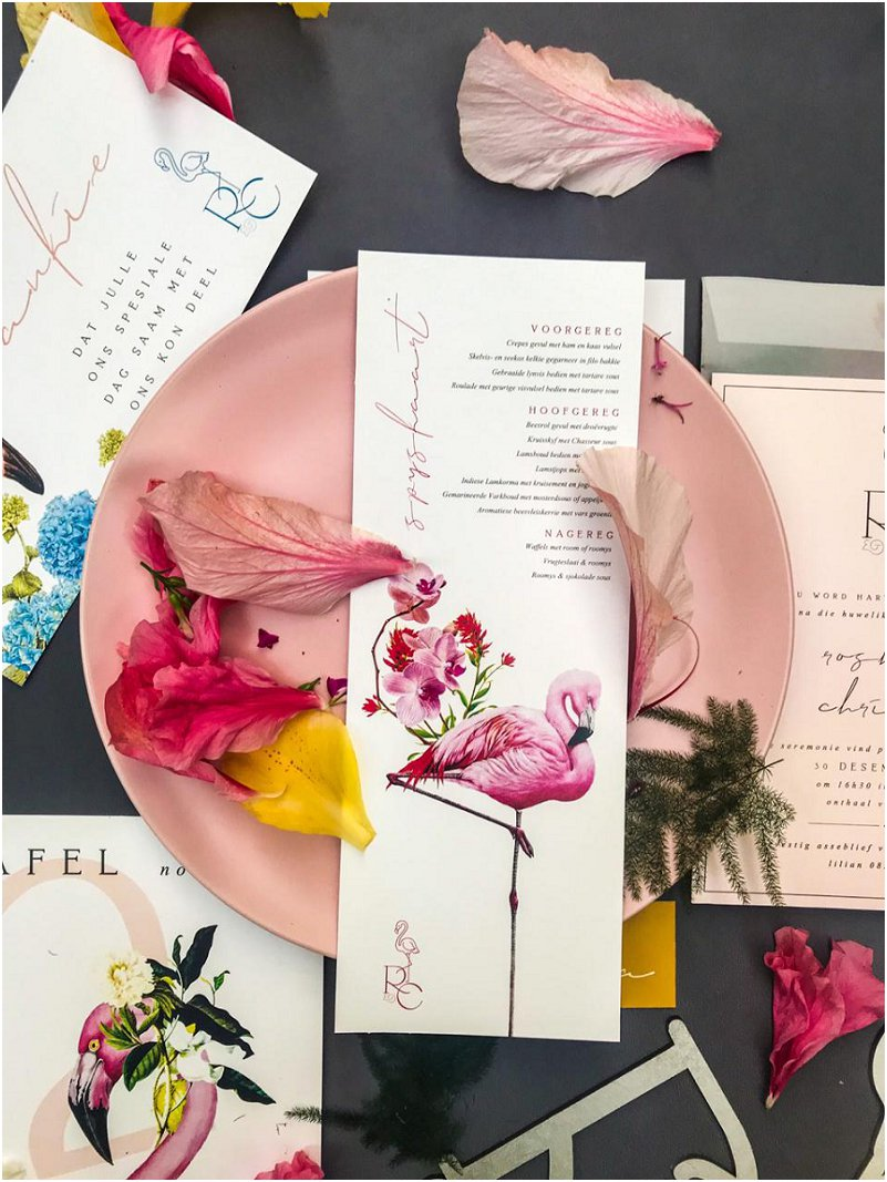 Flamingos inspired wedding stationery