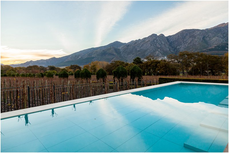 Vineyards, Mountains, swimming pool, leeu collection, vorsprung studio photography