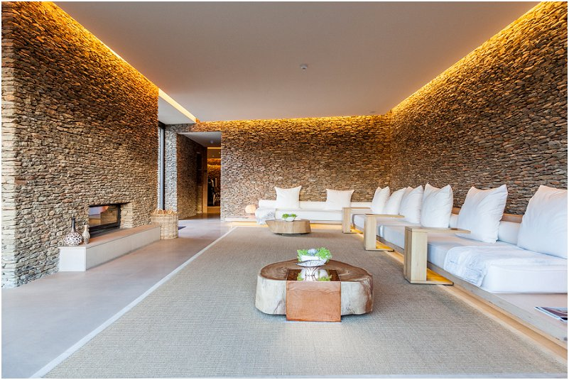 fire place, waiting area, white seats, leeu collection, vorsprung studio photography