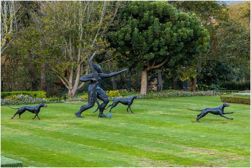 Artwork, Artemis and three dogs, greek goddesss, trees, grass, leeu collection, vorsprung studio photography