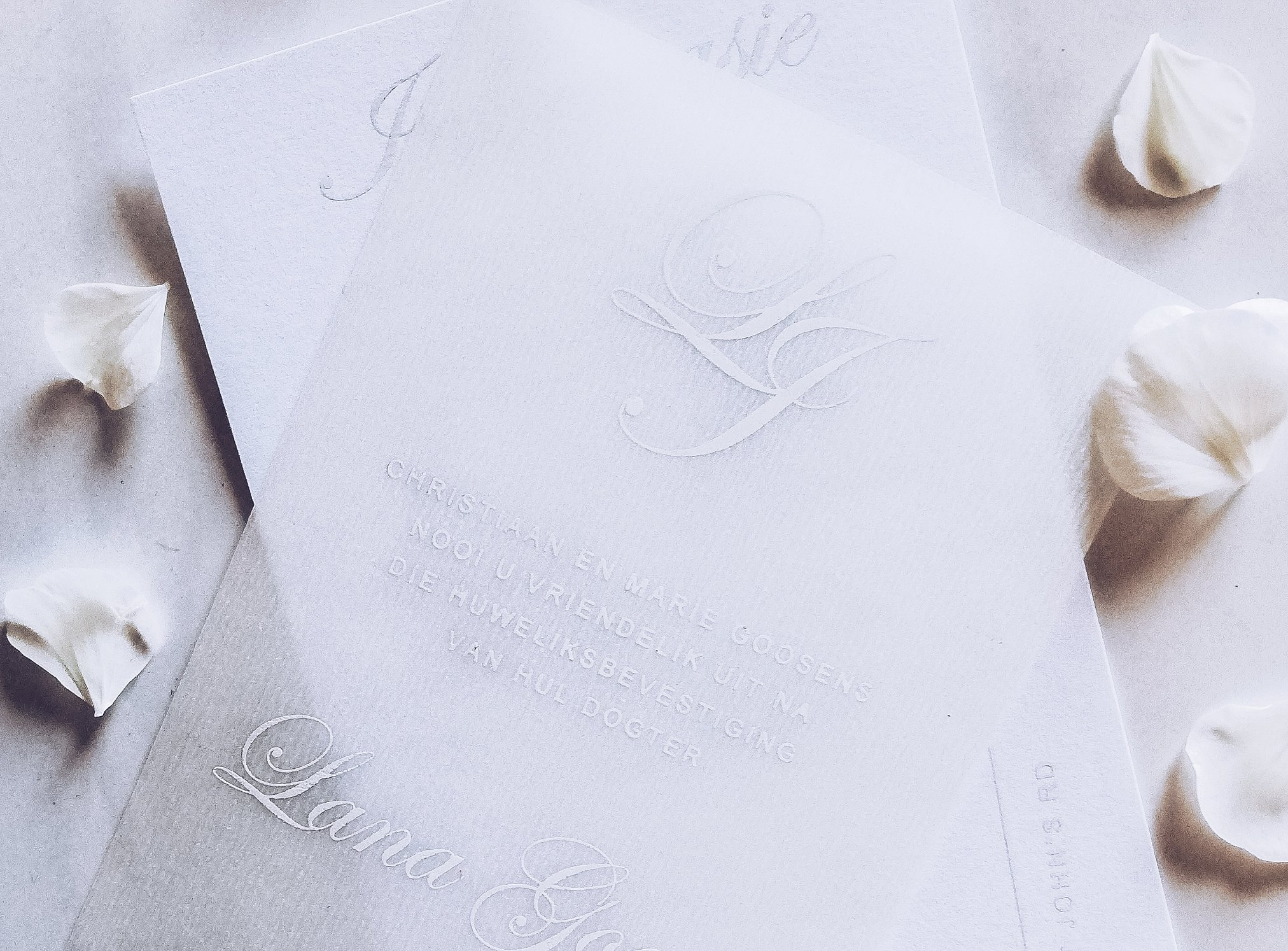 White on White wedding stationery set