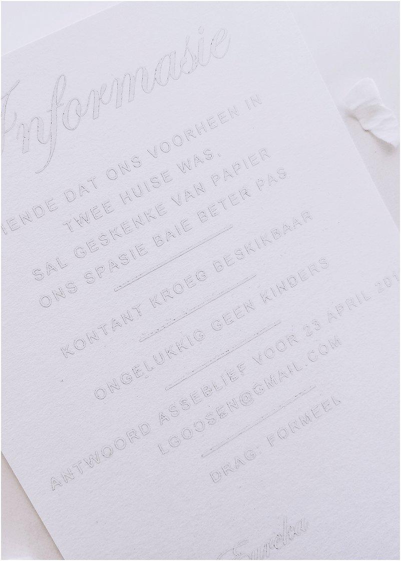 White on White wedding stationery set