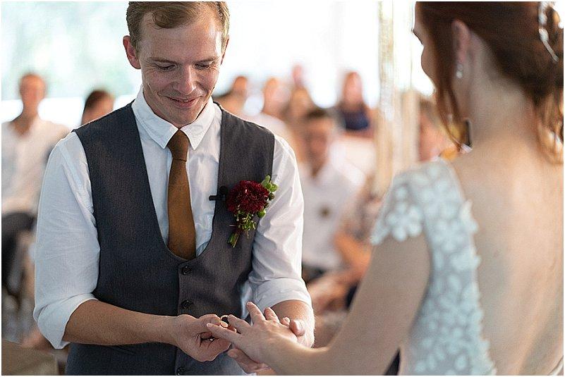 putting on wedding rings