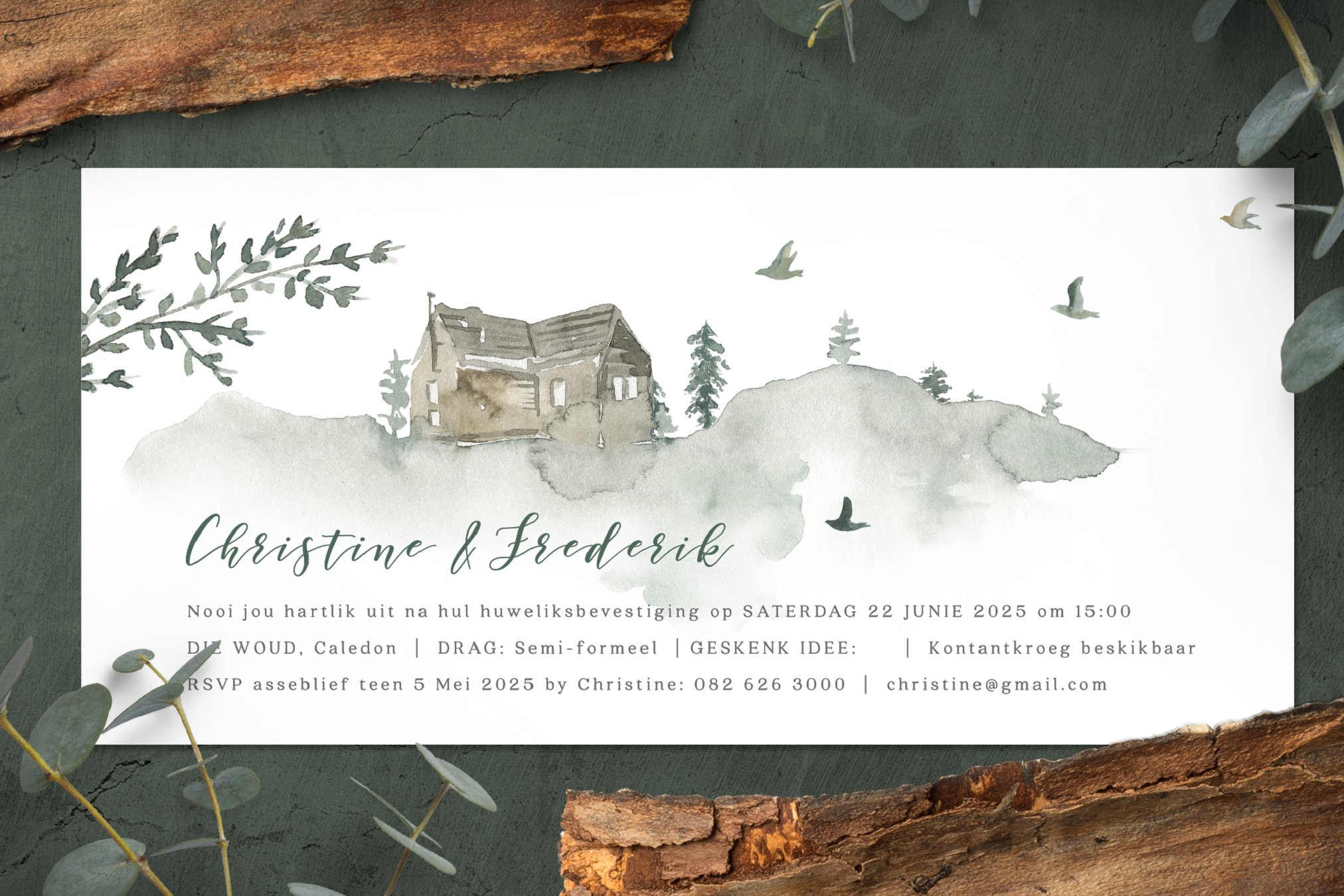 Forest inspired wedding stationery set