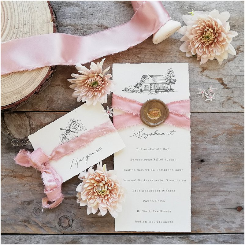 pink wedding stationery