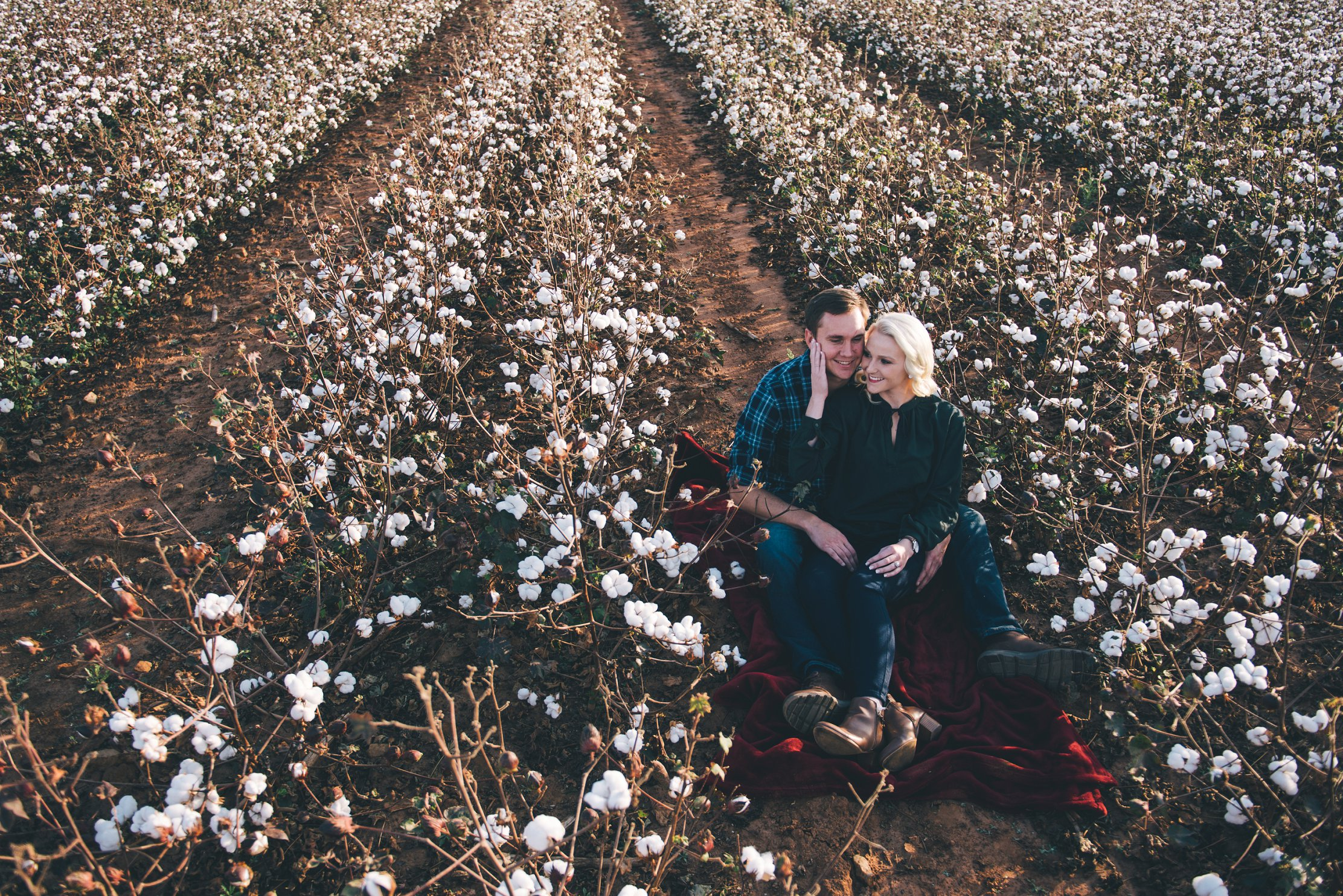 cotton field engagement pictures