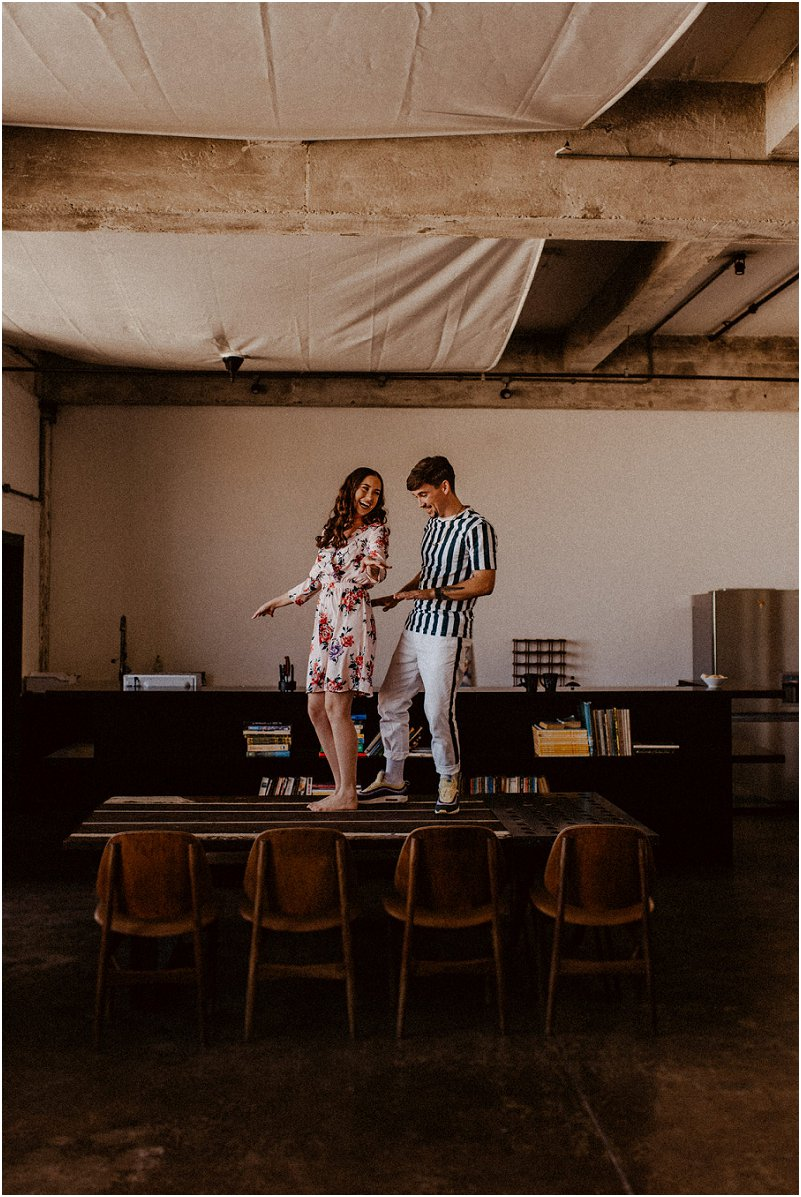 playful engagement photo shoot