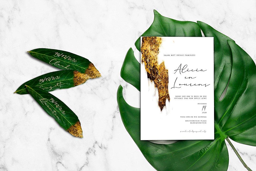 Modern wedding stationery with Gold & Green
