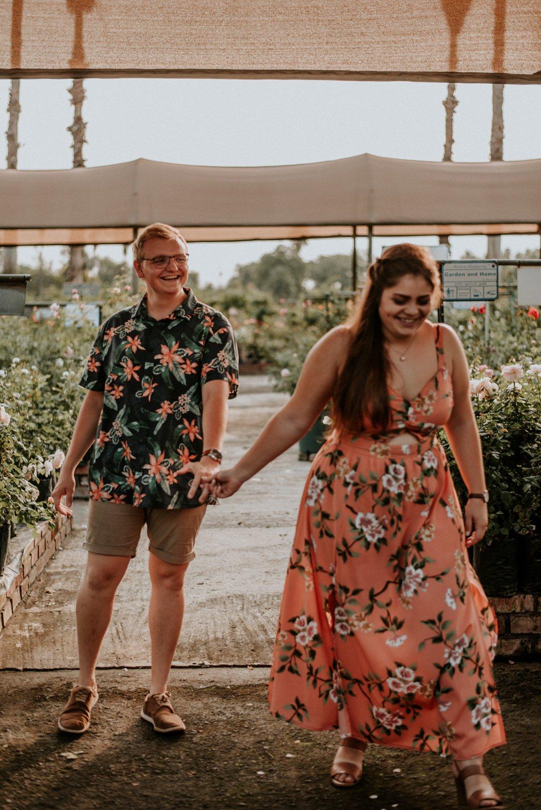 rose farm engagement photo shoot