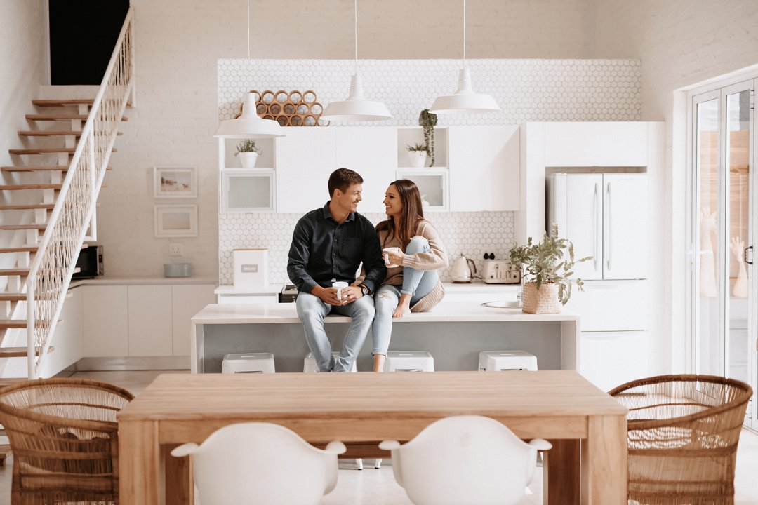 engagement photos at home