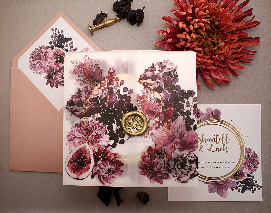 Purple Flower Illustration Wedding Stationery Inspiration