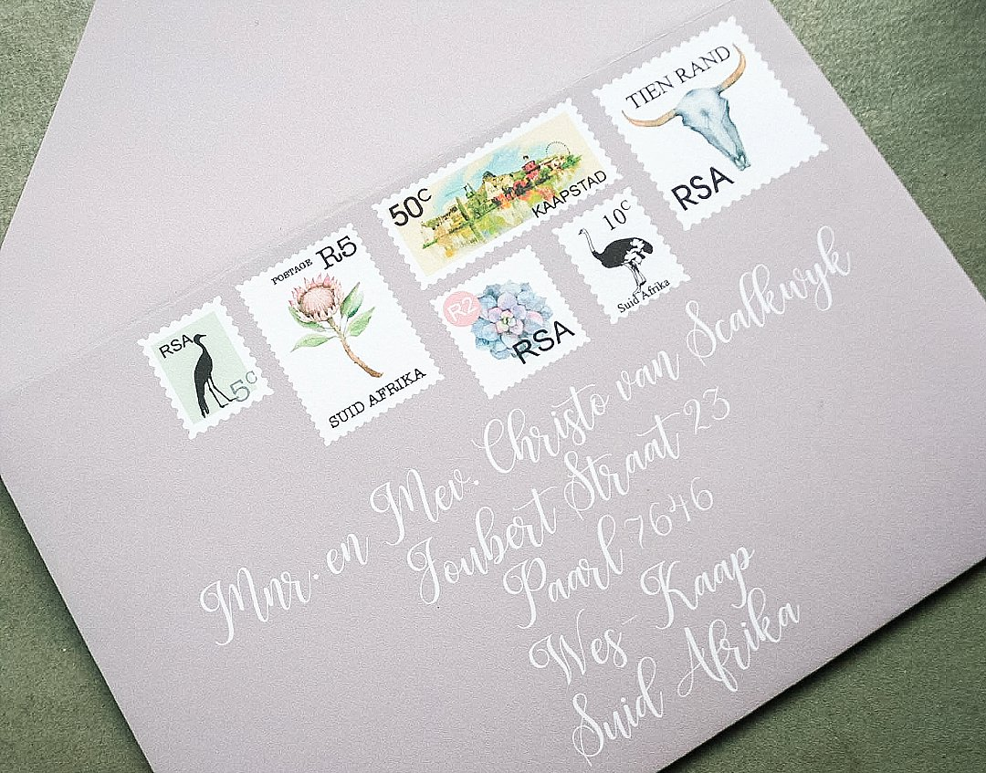 South African Stamp Inspired Wedding Stationery