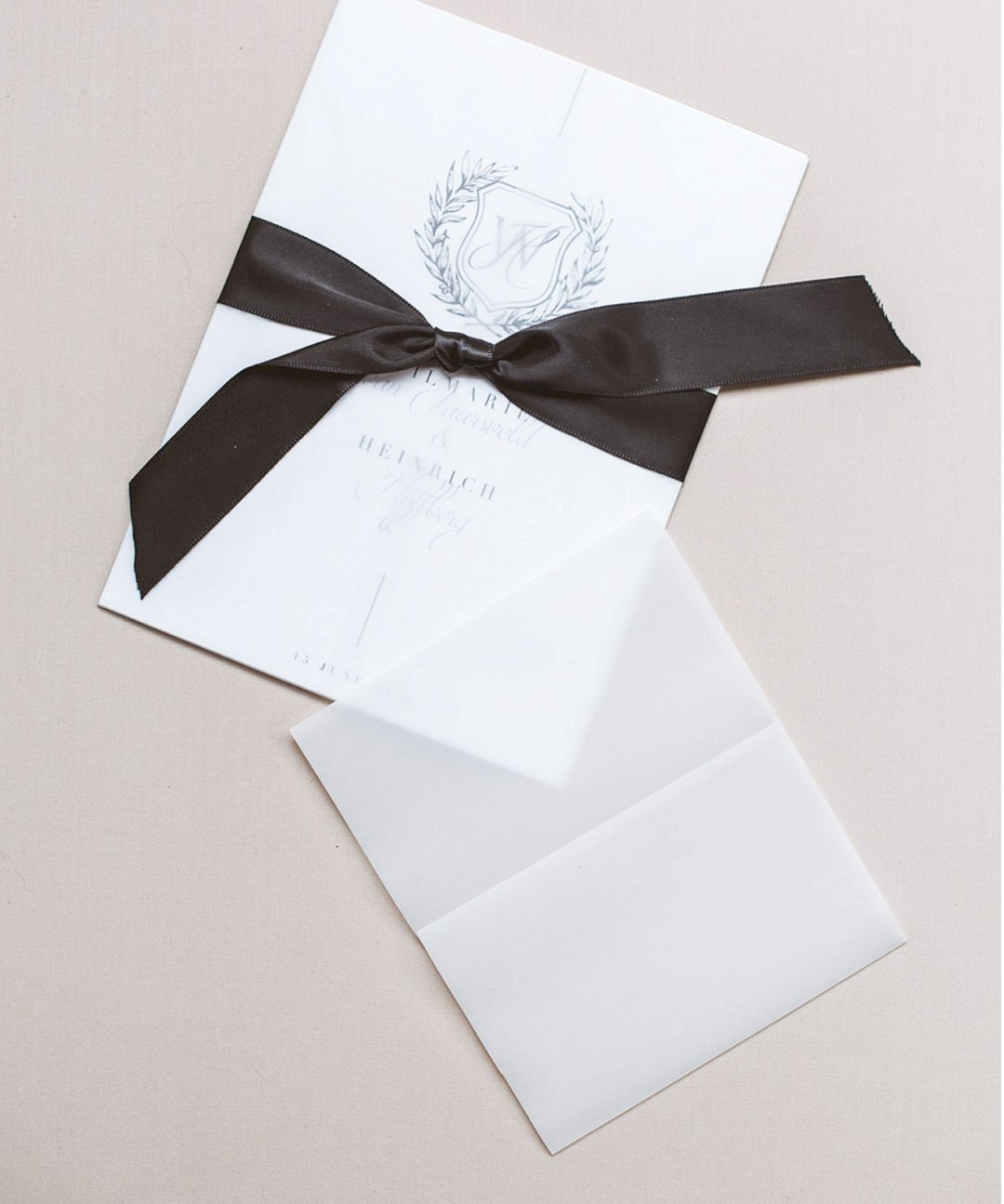 Classic wedding invitations with wax stamp