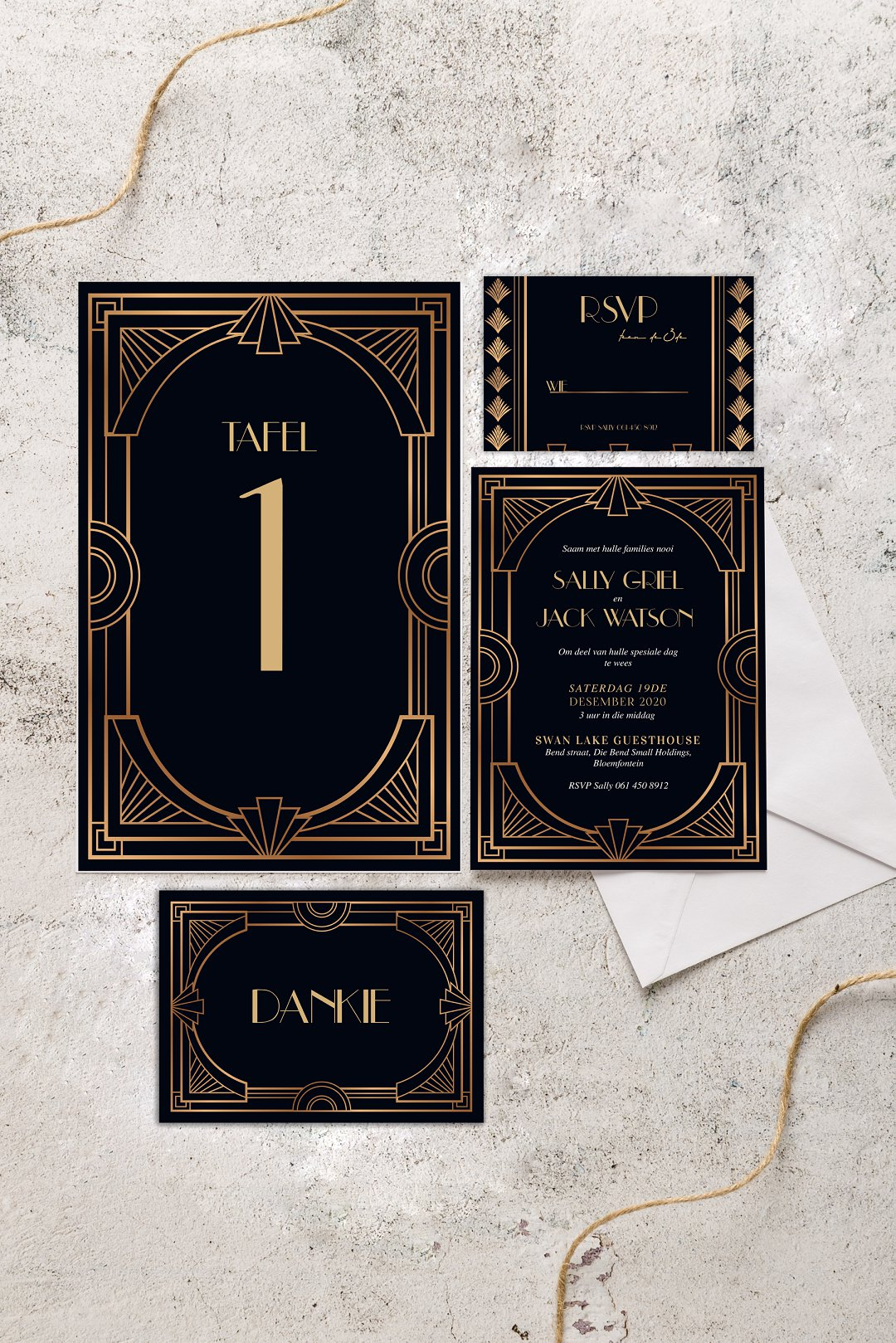 Art Deco inspired wedding stationery