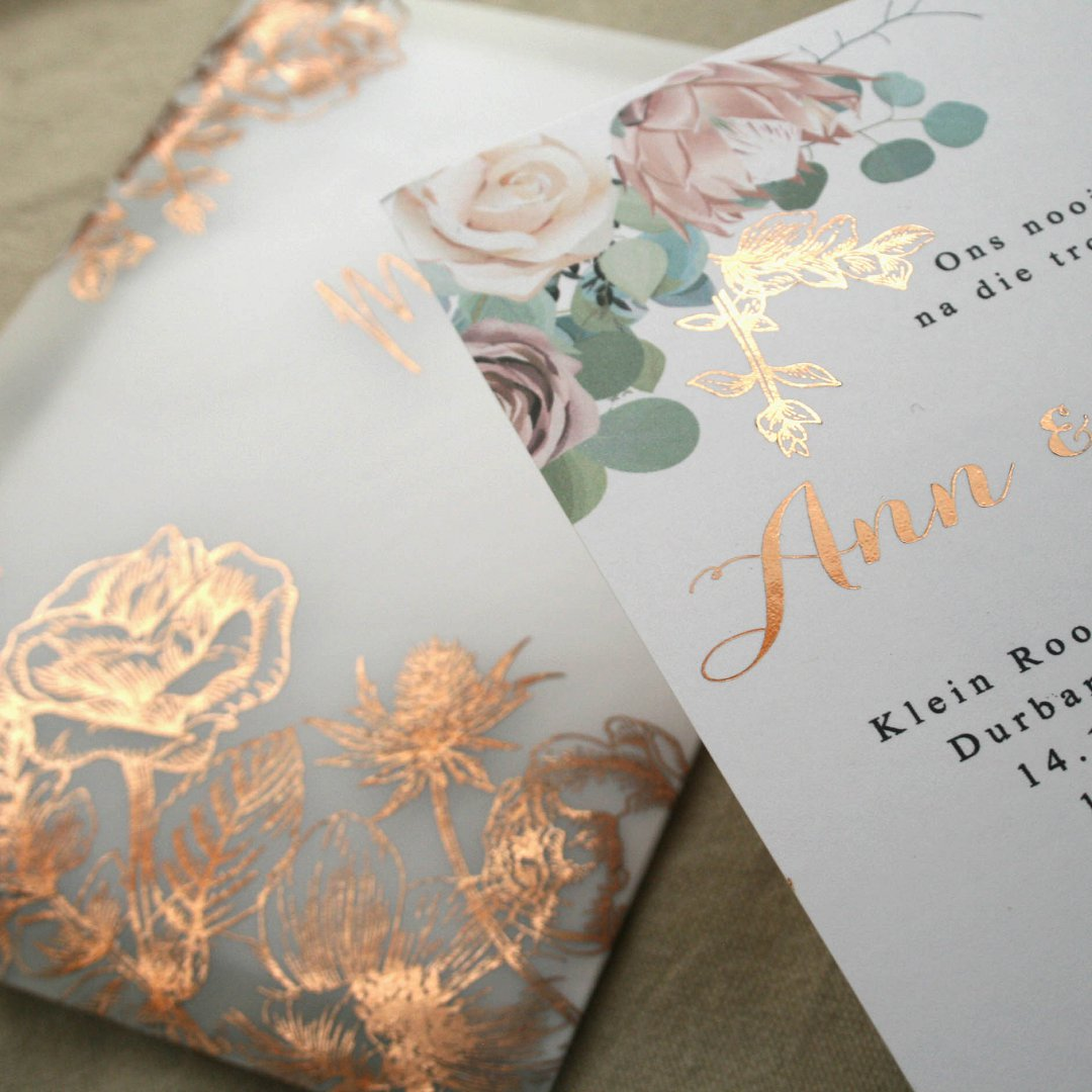 Rose Gold Velum Inspired Wedding Invitation