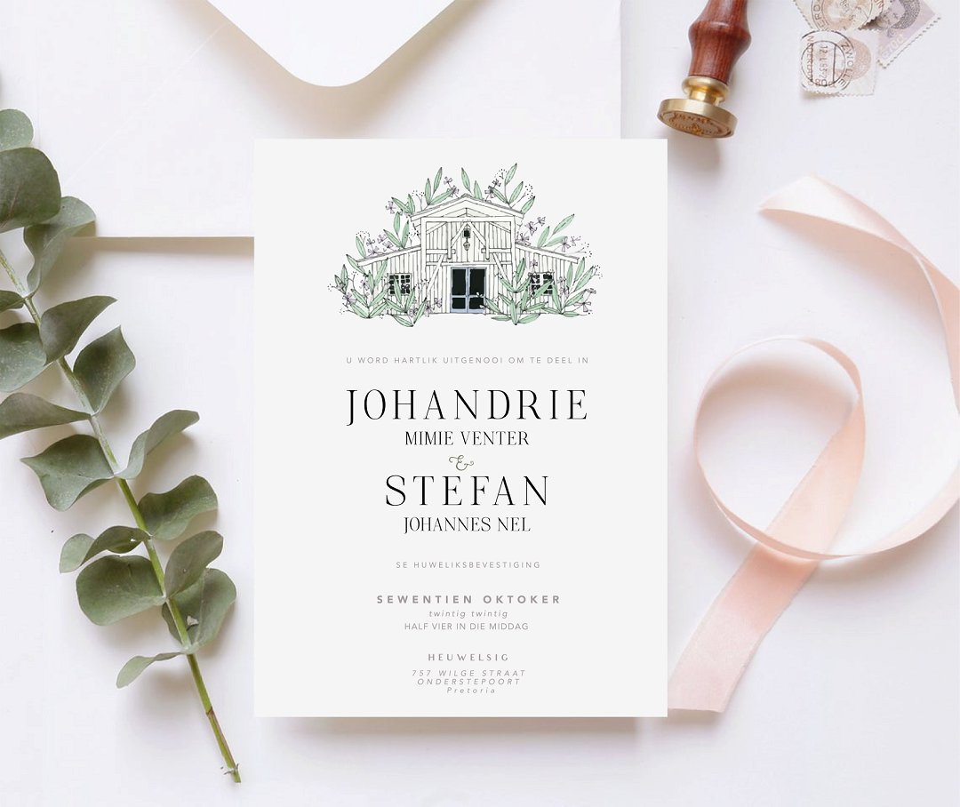 Venue illustration wedding invitation