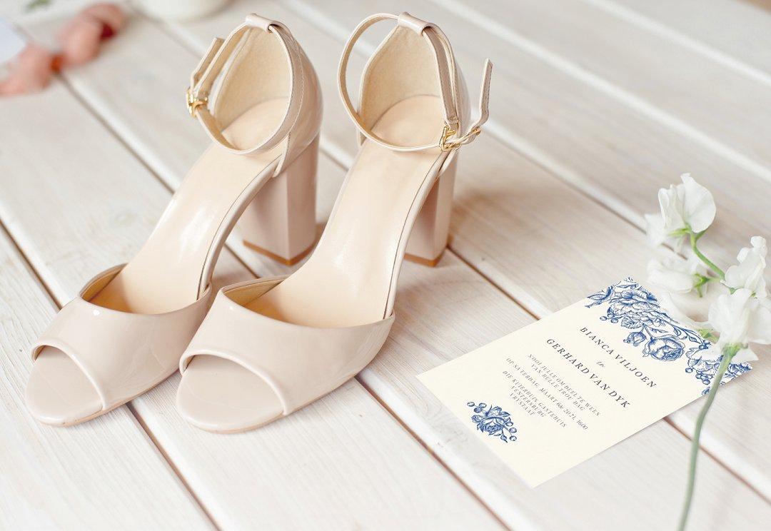 Navy Blue Flower Illustration wedding stationery