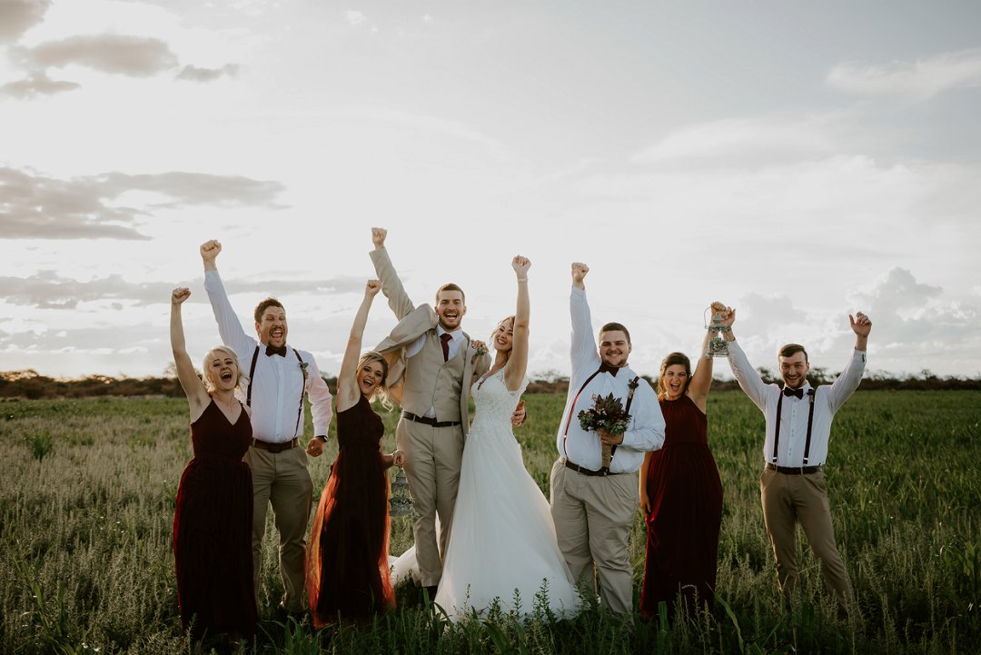 Bride and groom with bridal party